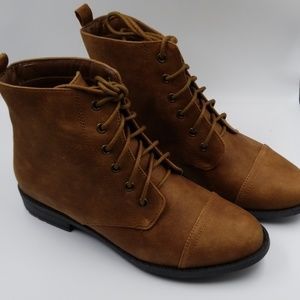 New just fab booties ankle boots brown lace up sz7